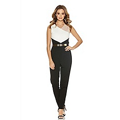Quiz - Cream Contrast Panel Belt Jumpsuit