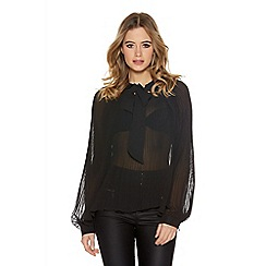 Quiz - Black Georgette Pleated Blouse