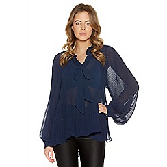 Quiz - Navy Georgette Pleated Blouse
