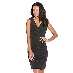 Quiz - Black Glitter Wrap Front Dress