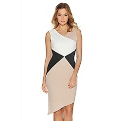 Quiz - Cream And Stone Asymmetrical Bodycon Dress