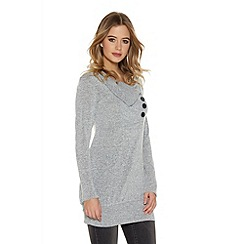 Quiz - Light Grey Knit Long Sleeve Button Top