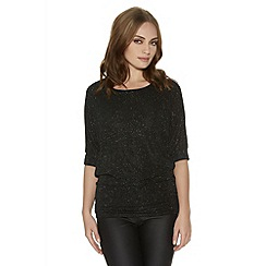 Quiz - Black Glitter Lace Back Top