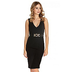Quiz - Black Fold Front Belted Peplum Dress