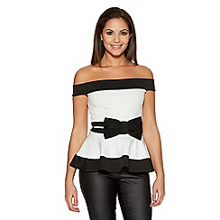 Quiz - Black And Cream Bow Bardot Peplum Top