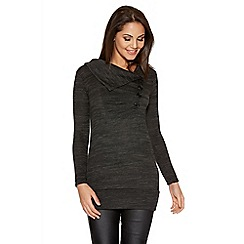 Quiz - Charcoal Knit 3 Button Long Sleeve Band Top