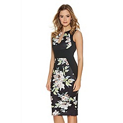 Quiz - Black Multi Colour Flower Print Midi Dress