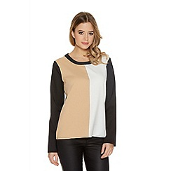 Quiz - Cream And Black Crepe Long Sleeve Top
