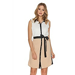 Quiz - Cream And Black Crepe Sleeveless Shirt Dress