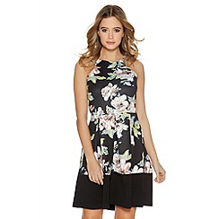 Quiz - Black Multi Colour Pleated Skater Dress