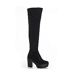 Quiz - Black Chunky Heel Over The Knee Boots