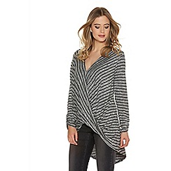 Quiz - Grey And Black Stripe Wrap Front Top