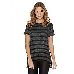 Quiz - Charcoal And Black Lace Stripe Top