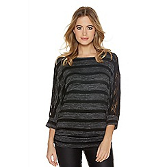 Quiz - Charcoal And Black Stripe Batwing Top