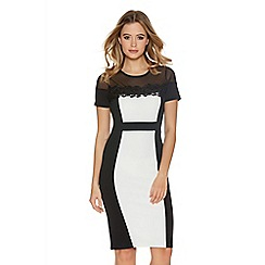 Quiz - Black And Cream Contrast Mesh Lace Midi Dress