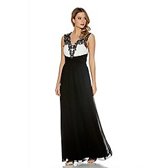 Quiz - Black And Cream Chiffon Diamante Maxi Dress