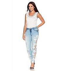 Quiz - Blue Denim Crochet Side Skinny Jeans