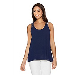Quiz - Navy Chiffon Double Layer Crochet Back Swing Top