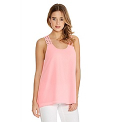 Quiz - Pink Chiffon Double Later Crochet Back Swing Top