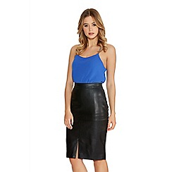 Quiz - Black Leather Look Midi Skirt