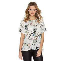 Quiz - Cream Black And Orange Blossom Print Box Top