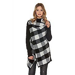 Quiz - Black Check Fleece Cardigan