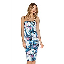 Quiz - Navy And Pink Flower Print Strap Midi Dress