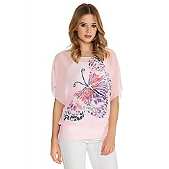 Quiz - Pink Chiffon Butterfly Diamante Top