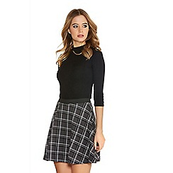 Quiz - Grey And Black Check Skater Skirt