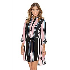 Quiz - Pink Stripe Crepe Long Shirt Dress