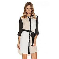 Quiz - Cream And Black Crepe Shirt Dress