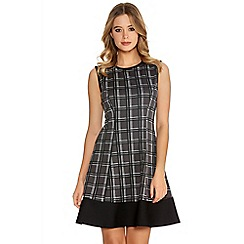 Quiz - Grey Check Skater Dress
