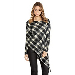 Quiz - Grey And Black Check Knit Asymetrical Top