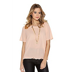 Quiz - Pink Chiffon Lace Detail Necklace Top