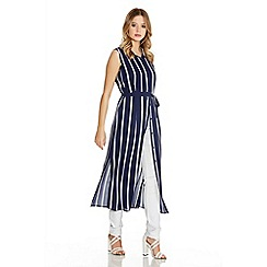 Quiz - Navy And Cream Crepe Sleveless Stripe Shirt Dress