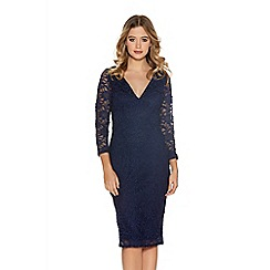 Quiz - Navy Glitter Lace V Neck Bodycon Dress