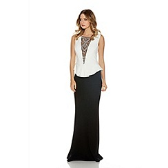 Quiz - Black And Cream Crepe Diamante Neck Fishtail Maxi Dress