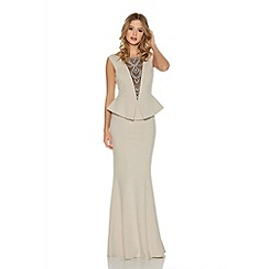 Quiz - Stone Crepe Diamante Neck Fishtail Maxi Dress