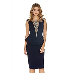Quiz - Navy Crepe Diamante V Neck Midi Dress