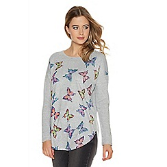 Quiz - Grey Multi Coloured Light Knit Butterfly Top