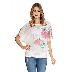 Quiz - White And Pink Chiffon Rose Batwing Top