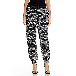 Quiz - Navy And Black Tribal Print Trousers