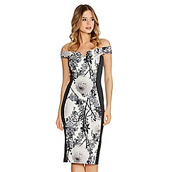 Quiz - Cream And Grey Flower Print Bardot Midi Dress