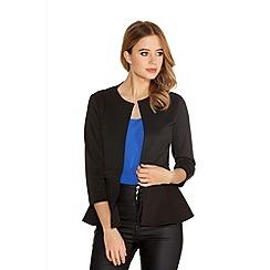 Quiz - Black 3/4 Sleeve Peplum Jacket
