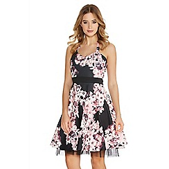 Quiz - Black And Pink Flower Print Halterneck Skater Dress
