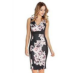 Quiz - Black And Pink Flower Print V Neck Panel Dress