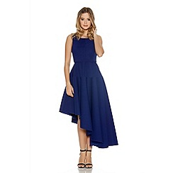 Quiz - Royal Blue Ribbed Asymmetrical Skater Dress