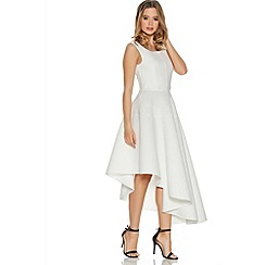 Quiz - Cream Ribbed Asymmetrical Skater Dress