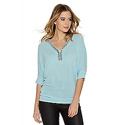 Quiz - Aqua Glitter 3/4 Sleeve Ruched Side Trim Top
