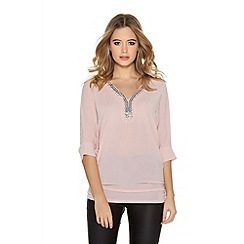 Quiz - Pink Glitter 3/4 Sleeve Ruched Side Trim Top